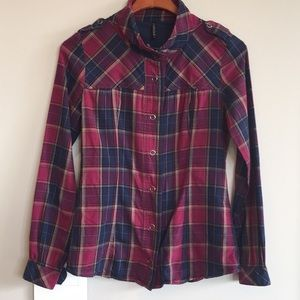Pink Purple Military inspired Plaid button Down XS